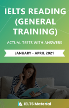 کتاب زبان  آیلتس ریدینگ جنرال  ژانویه تا آپریل (IELTS Reading General Training Actual Tests with Answers (January – April 2021